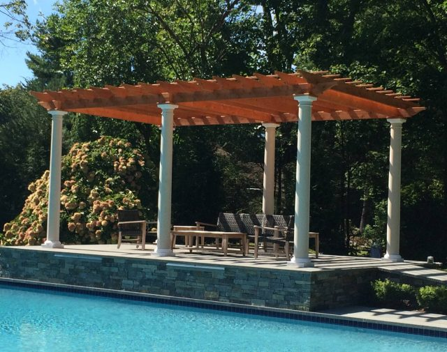 10x20 cedar Oasis pergola with round vinly post