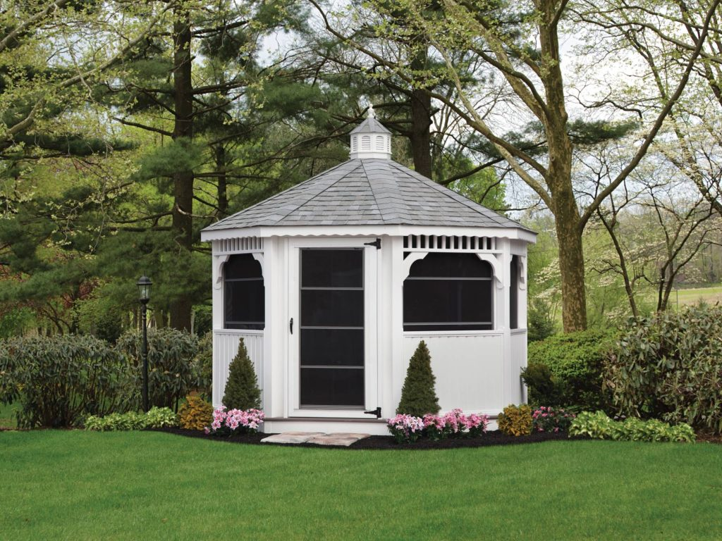 10' oct vinyl gazebo with solid bottom rails