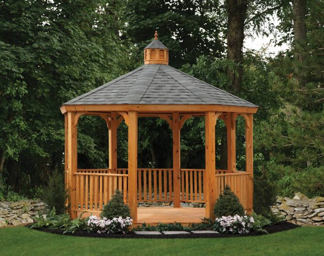 wood cedar gazebo garden structures