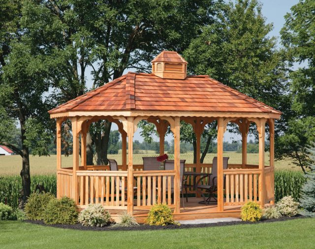 10x16 oval p-t yellowpine gazebo with cedar shingles