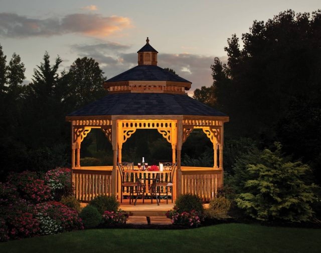 12' oct p-t yellow pine gazebo with double roof