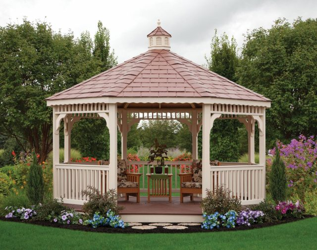 vinyl gazebo sitting area