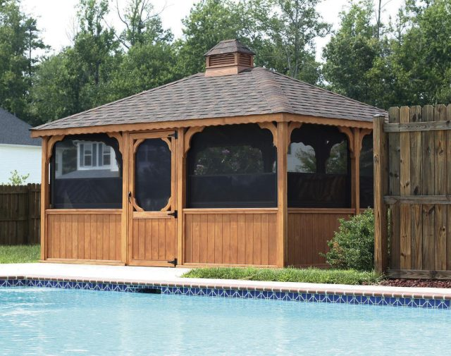 wood screened in gazebo
