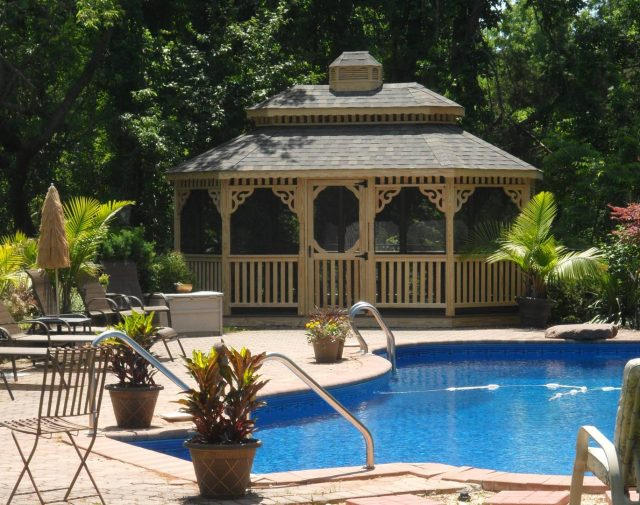 wood gazebo poolside retreat