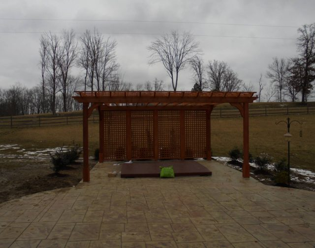 12x18 cedar Cozy retreat pergola with full lattice wall