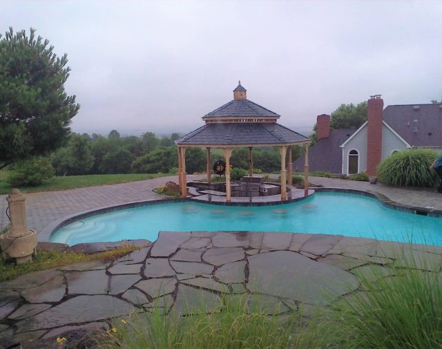 14' wood gazebo poolside