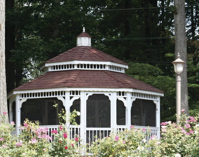 vinyl oct gazebo with double roof