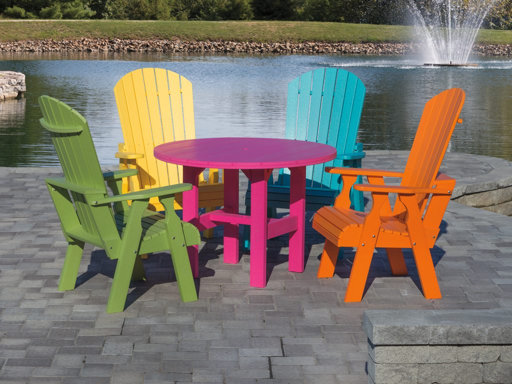 Fan back dining set in bright colors