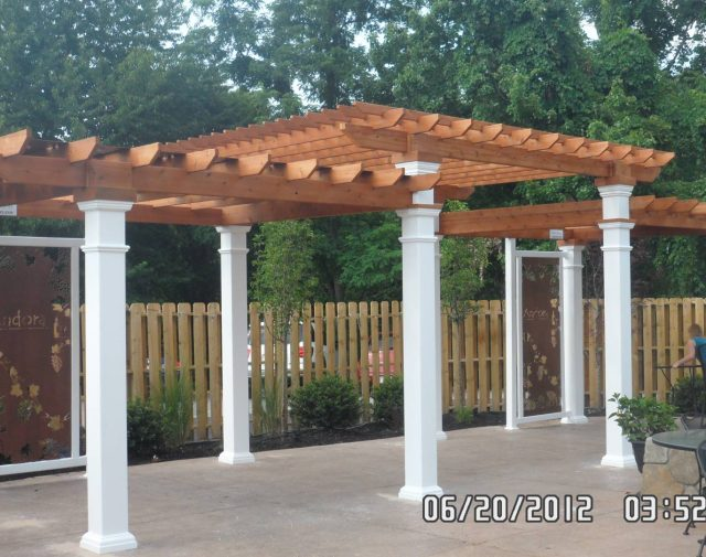 3 Teir Oasis cedar pergola with vinly post