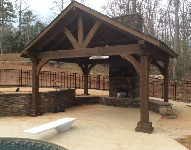 rough cut timber frame pavilion