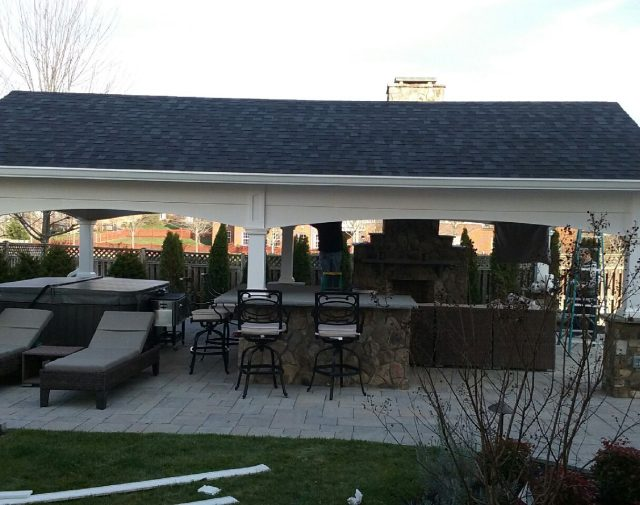 White open gable vinyl pavilion