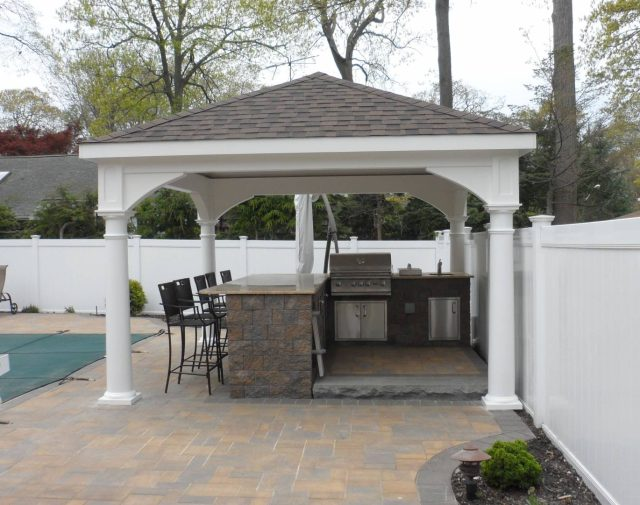 12x16 vinyl standard pavilion with outdoor kitchen longisland