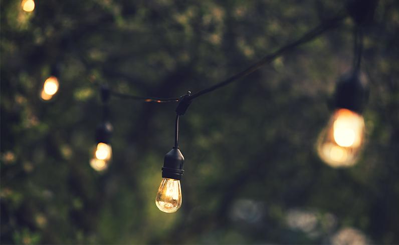 edison lights as inexpensive backyard idea