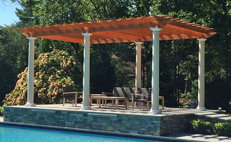 affordable pressure-treated wooden oasis pergola