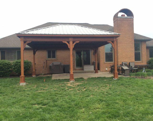 16x20 cedar pavilion metal roof