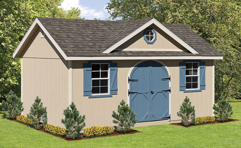 tan, blue, and white shed color combinations