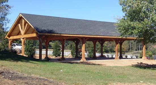 A commercial wooden pavilion for a public gathering place
