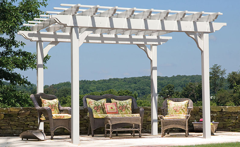 decorated white vinyl pergola
