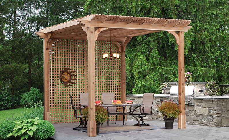 backyard living space built with privacy pergola