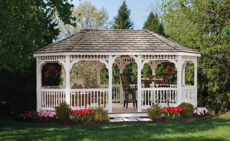 outdoor living space with mid-yard gazebo