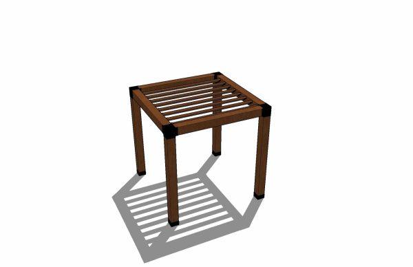 Modern wooden pergola 3D rendering
